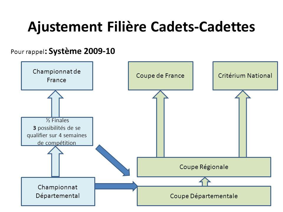 Pour rappel : Système 2009-10 Championnat Départemental ½ Finales 3 possibilités de se qualifier sur 4 semaines de compétition Championnat de France Coupe Départementale Coupe Régionale Coupe de FranceCritérium National