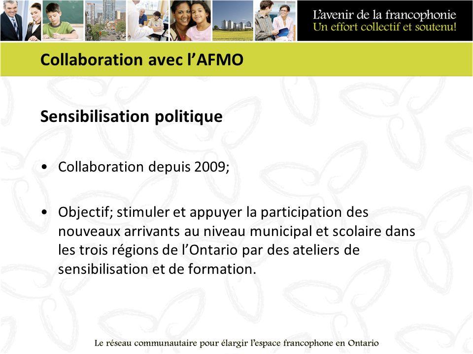 Collaboration avec lAFMO Sensibilisation politique Collaboration depuis 2009; Objectif; stimuler et appuyer la participation des nouveaux arrivants au niveau municipal et scolaire dans les trois régions de lOntario par des ateliers de sensibilisation et de formation.