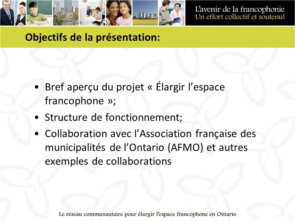Objectifs de la présentation: Bref aperçu du projet « Élargir lespace francophone »; Structure de fonctionnement; Collaboration avec lAssociation française des municipalités de lOntario (AFMO) et autres exemples de collaborations