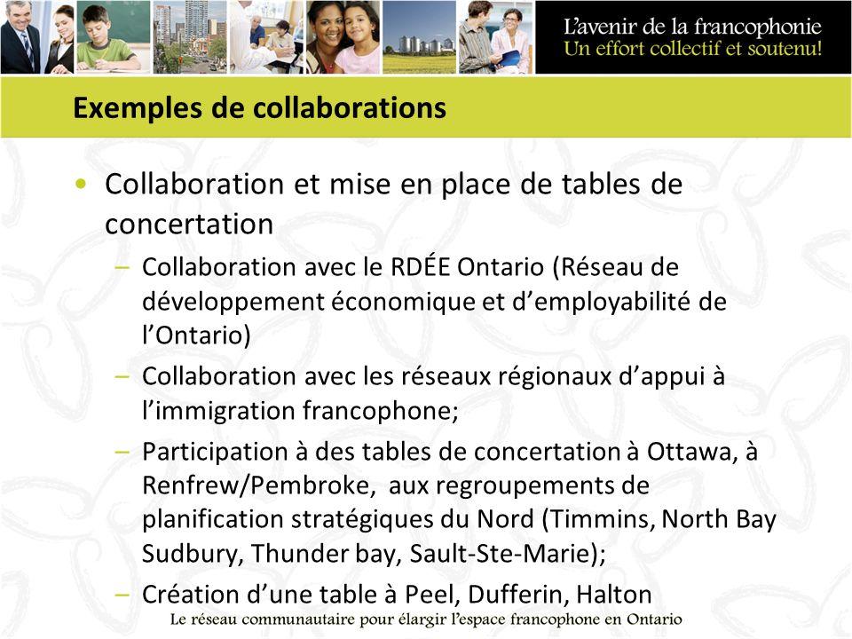 Exemples de collaborations Collaboration et mise en place de tables de concertation –Collaboration avec le RDÉE Ontario (Réseau de développement économique et demployabilité de lOntario) –Collaboration avec les réseaux régionaux dappui à limmigration francophone; –Participation à des tables de concertation à Ottawa, à Renfrew/Pembroke, aux regroupements de planification stratégiques du Nord (Timmins, North Bay Sudbury, Thunder bay, Sault-Ste-Marie); –Création dune table à Peel, Dufferin, Halton