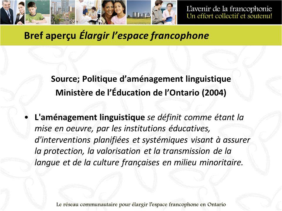 Bref aperçu Élargir lespace francophone Source; Politique daménagement linguistique Ministère de lÉducation de lOntario (2004) L'aménagement linguisti