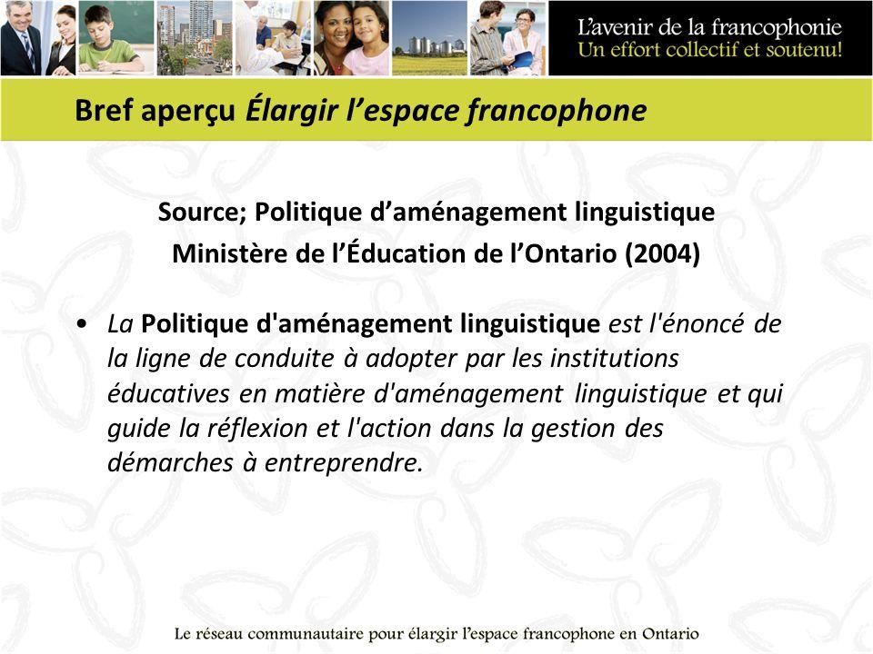 Bref aperçu Élargir lespace francophone Source; Politique daménagement linguistique Ministère de lÉducation de lOntario (2004) La Politique d'aménagem