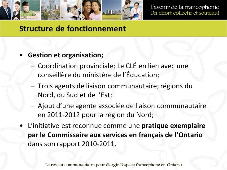 Structure de fonctionnement Gestion et organisation; –Coordination provinciale; Le CLÉ en lien avec une conseillère du ministère de lÉducation; –Trois agents de liaison communautaire; régions du Nord, du Sud et de lEst; –Ajout dune agente associée de liaison communautaire en 2011-2012 pour la région du Nord; Linitiative est reconnue comme une pratique exemplaire par le Commissaire aux services en français de lOntario dans son rapport 2010-2011.