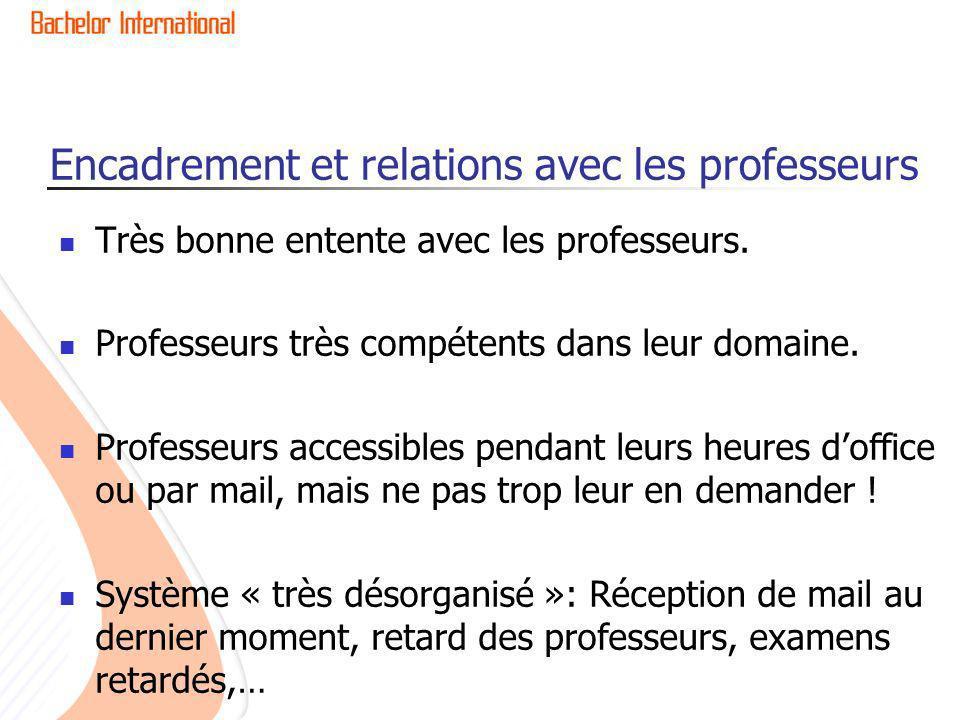 Encadrement et relations avec les professeurs Très bonne entente avec les professeurs.