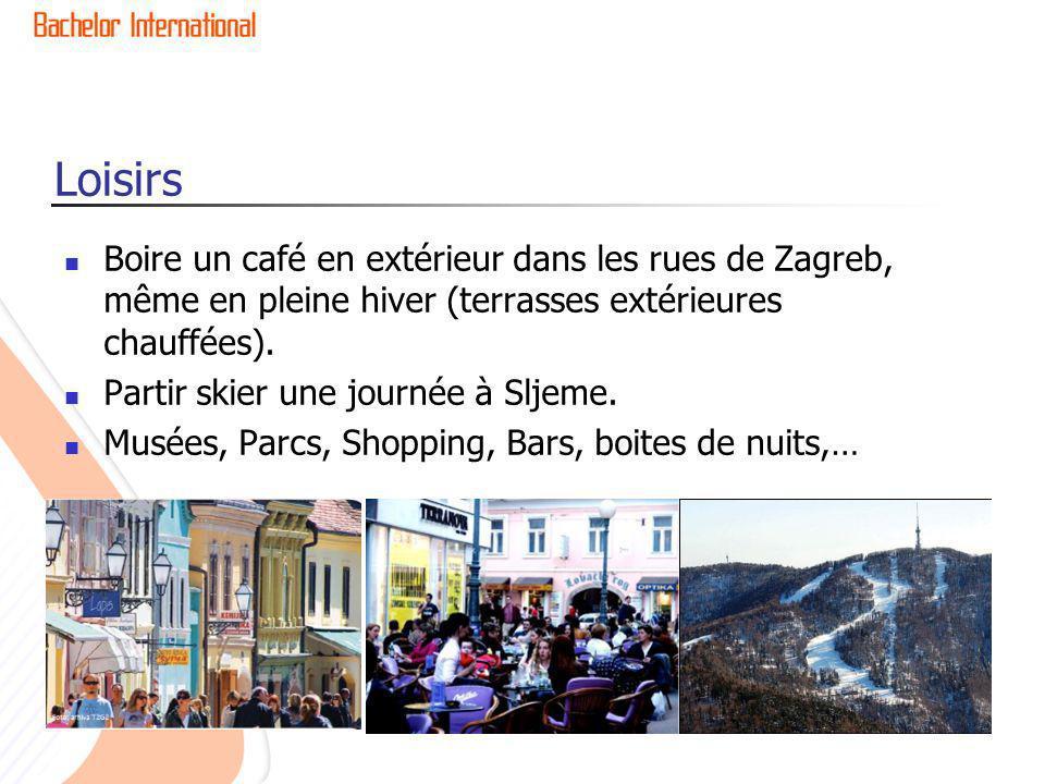 Loisirs Boire un café en extérieur dans les rues de Zagreb, même en pleine hiver (terrasses extérieures chauffées). Partir skier une journée à Sljeme.