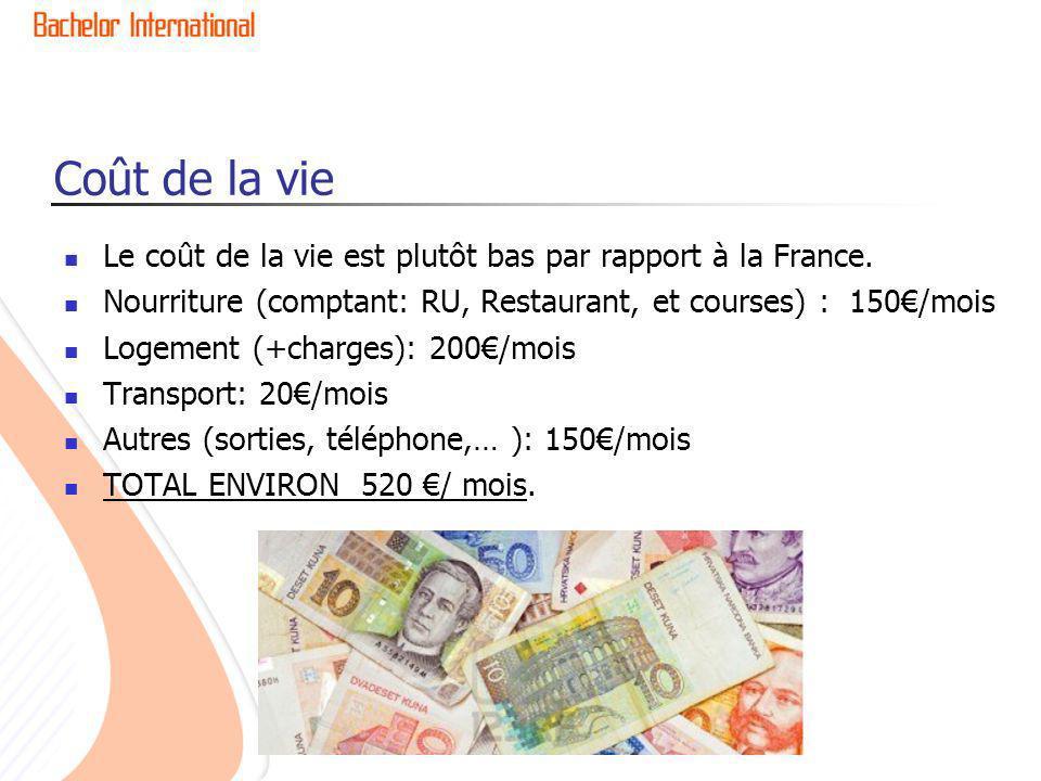 Coût de la vie Le coût de la vie est plutôt bas par rapport à la France. Nourriture (comptant: RU, Restaurant, et courses) : 150/mois Logement (+charg