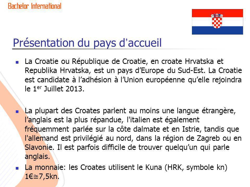 Présentation du pays daccueil La Croatie ou République de Croatie, en croate Hrvatska et Republika Hrvatska, est un pays dEurope du Sud-Est. La Croati