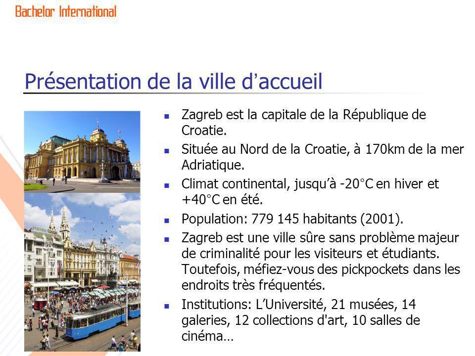 Présentation de la ville daccueil Zagreb est la capitale de la République de Croatie. Située au Nord de la Croatie, à 170km de la mer Adriatique. Clim