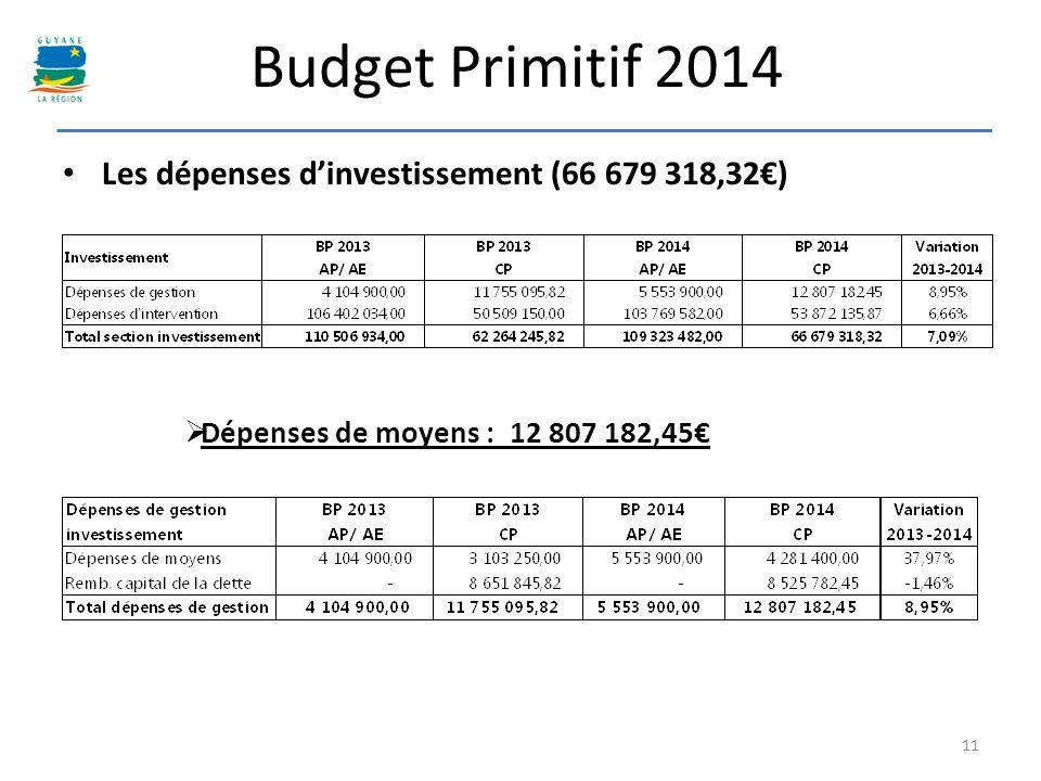 Budget Primitif 2014 Les dépenses dinvestissement (66 679 318,32) 11 Dépenses de moyens : 12 807 182,45
