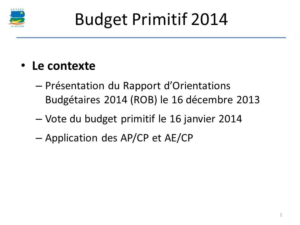 Budget Primitif 2014 Le contexte – Présentation du Rapport dOrientations Budgétaires 2014 (ROB) le 16 décembre 2013 – Vote du budget primitif le 16 ja