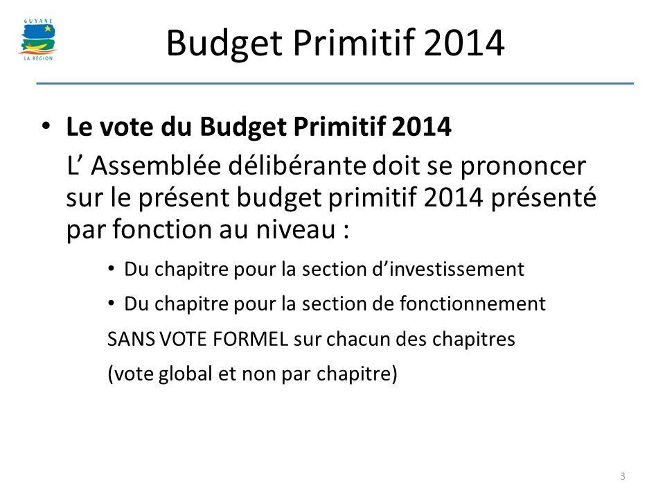Le vote du Budget Primitif 2014 L Assemblée délibérante doit se prononcer sur le présent budget primitif 2014 présenté par fonction au niveau : Du cha