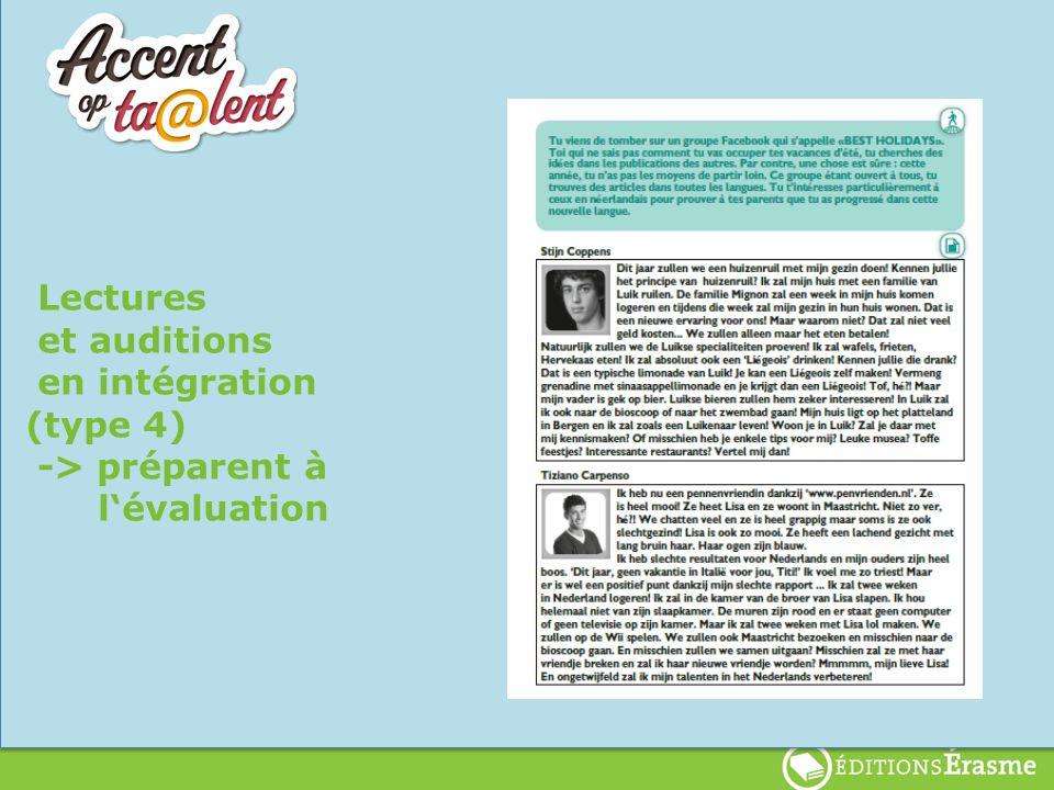 lenten Lectures et auditions en intégration (type 4) -> préparent à lévaluation
