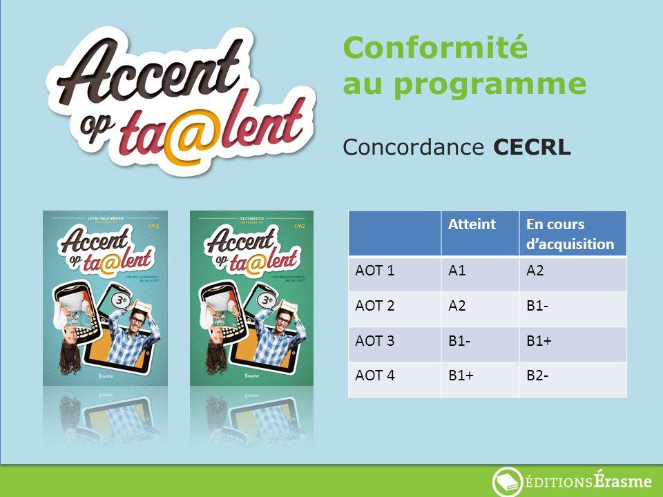 Conformité au programme Concordance CECRL AtteintEn cours dacquisition AOT 1A1A2 AOT 2A2B1- AOT 3B1-B1+ AOT 4B1+B2-