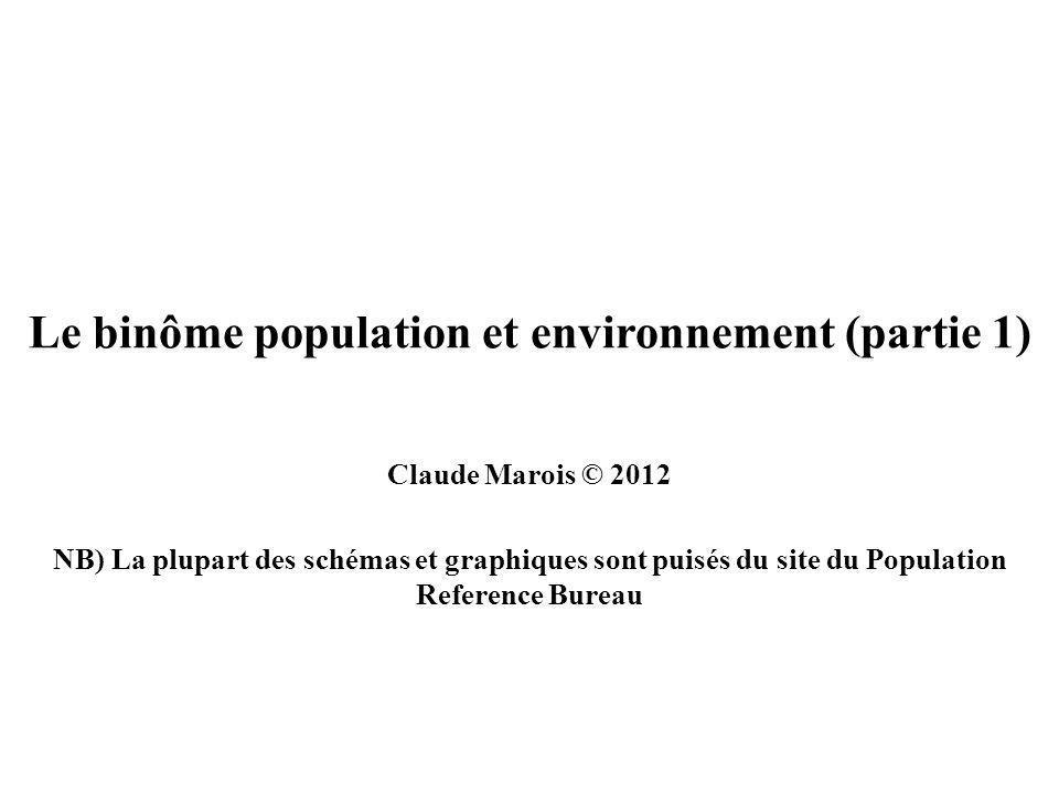 Le binôme population et environnement (partie 1) Claude Marois © 2012 NB) La plupart des schémas et graphiques sont puisés du site du Population Reference Bureau