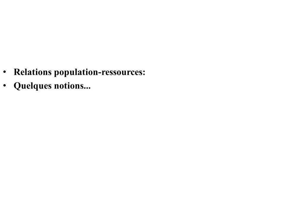 Relations population-ressources: Quelques notions...