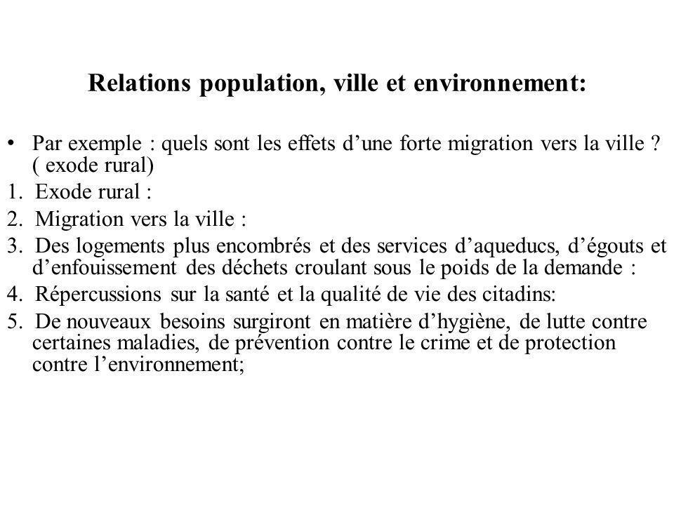 Relations population, ville et environnement: Par exemple : quels sont les effets dune forte migration vers la ville .