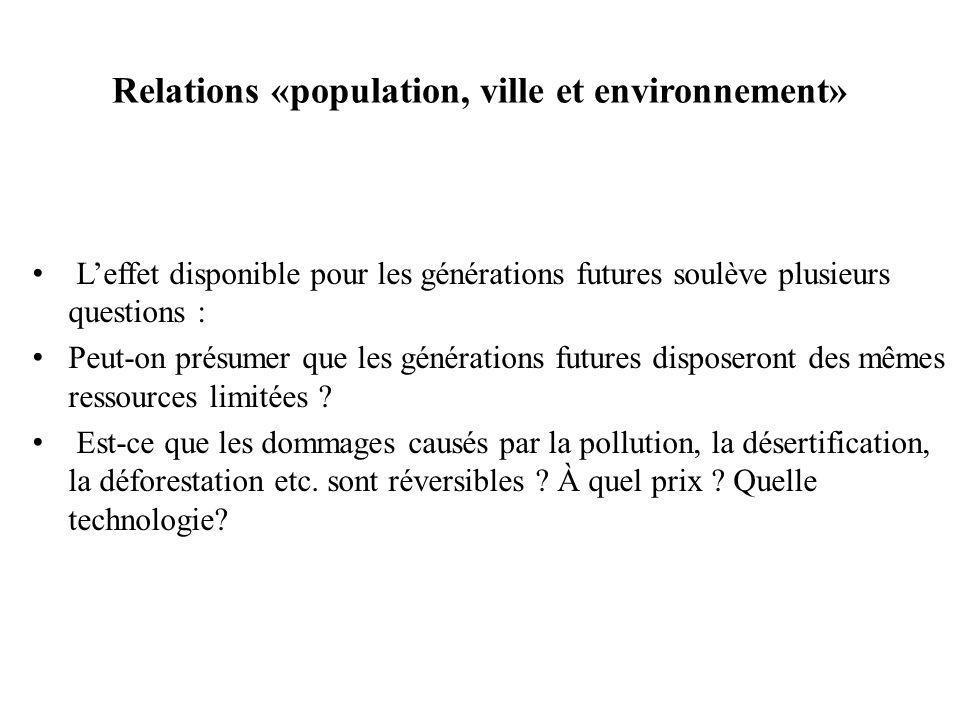 Relations «population, ville et environnement» Leffet disponible pour les générations futures soulève plusieurs questions : Peut-on présumer que les générations futures disposeront des mêmes ressources limitées .