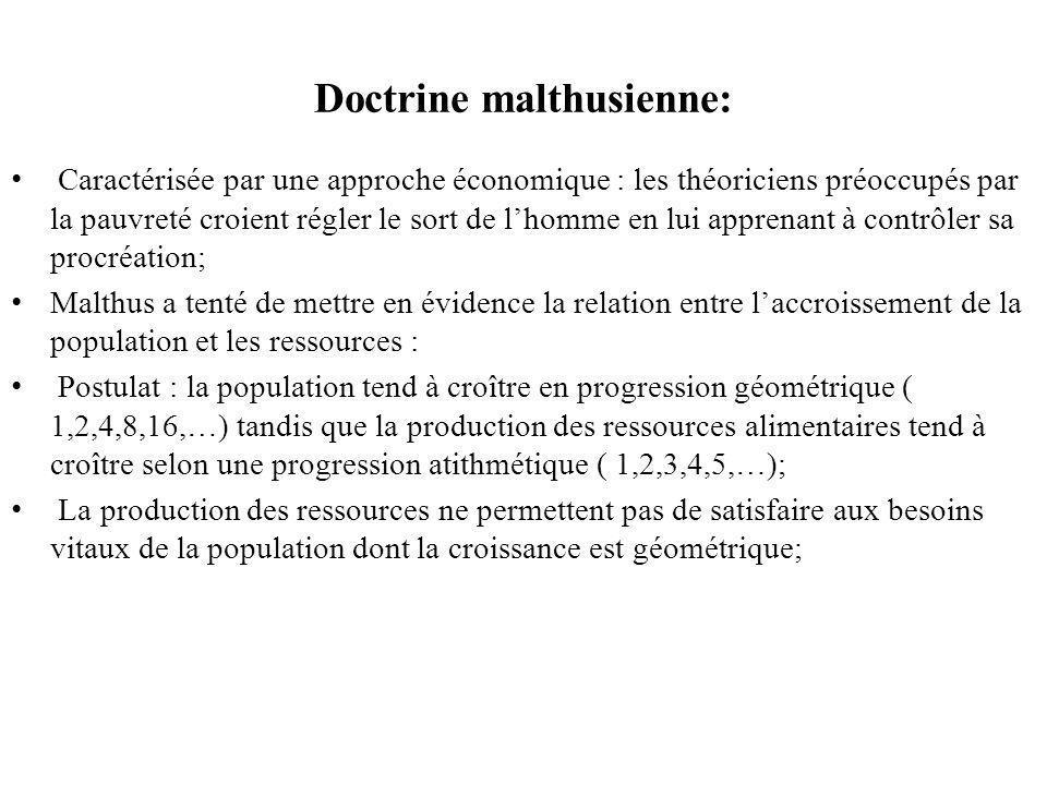 Doctrine malthusienne: Caractérisée par une approche économique : les théoriciens préoccupés par la pauvreté croient régler le sort de lhomme en lui apprenant à contrôler sa procréation; Malthus a tenté de mettre en évidence la relation entre laccroissement de la population et les ressources : Postulat : la population tend à croître en progression géométrique ( 1,2,4,8,16,…) tandis que la production des ressources alimentaires tend à croître selon une progression atithmétique ( 1,2,3,4,5,…); La production des ressources ne permettent pas de satisfaire aux besoins vitaux de la population dont la croissance est géométrique;