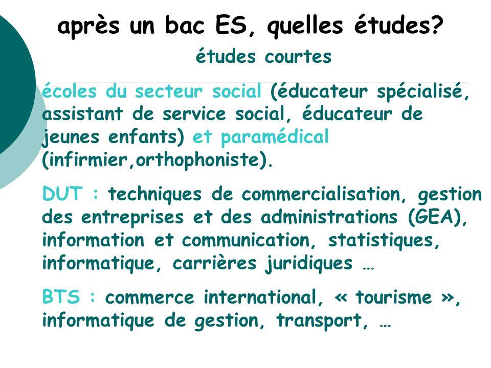 après un bac ES, quelles études? études courtes écoles du secteur social (éducateur spécialisé, assistant de service social, éducateur de jeunes enfan