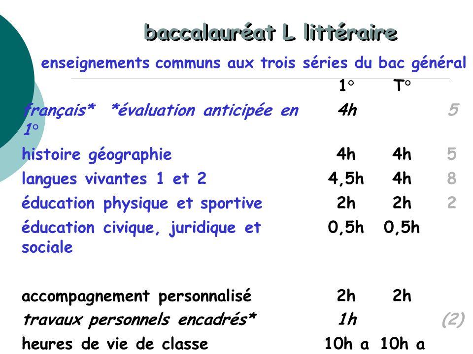 baccalauréat L littéraire enseignements communs aux trois séries du bac général 1°T° français* *évaluation anticipée en 1° 4h5 histoire géographie4h 5