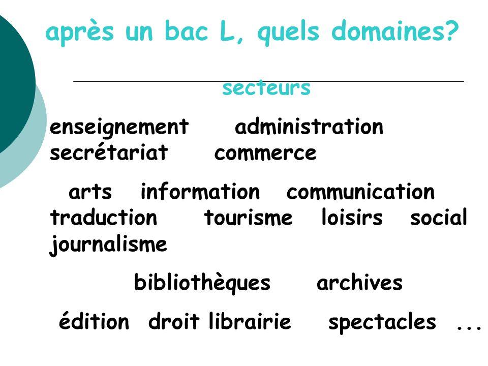 après un bac L, quels domaines? secteurs enseignement administration secrétariat commerce arts information communication traduction tourisme loisirs s