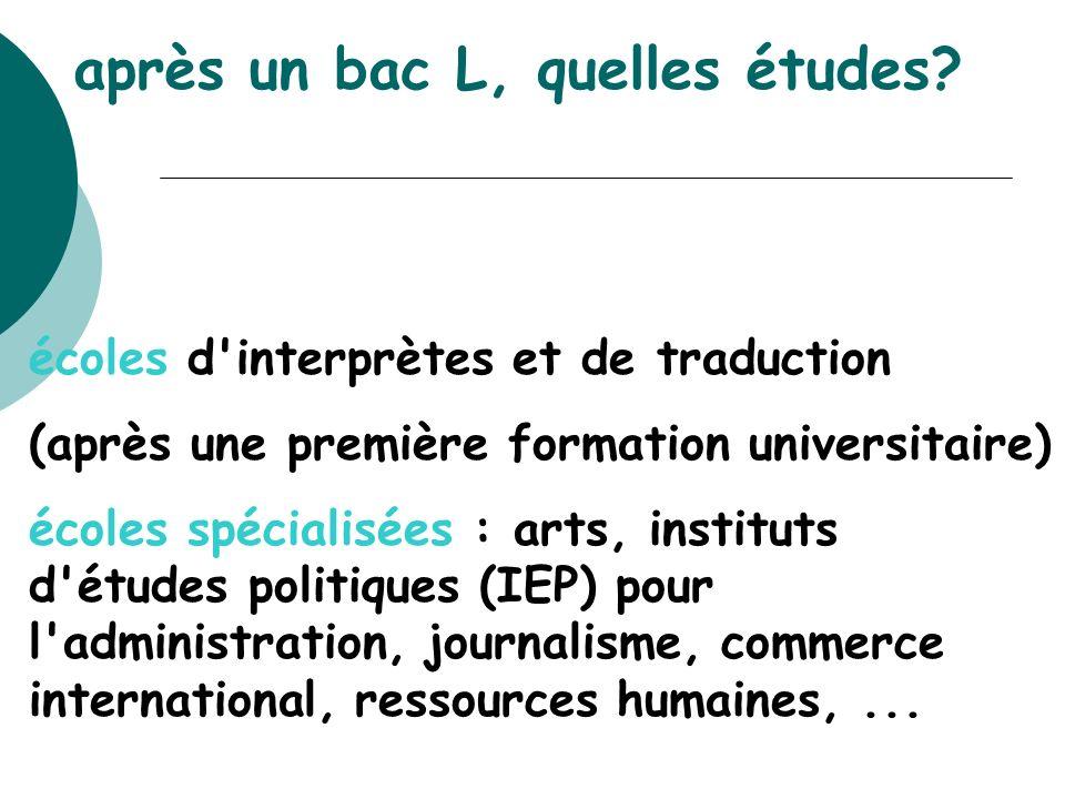 écoles d'interprètes et de traduction (après une première formation universitaire) écoles spécialisées : arts, instituts d'études politiques (IEP) pou