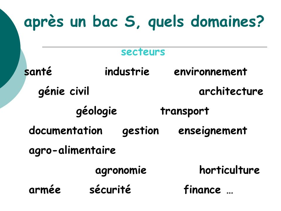 après un bac S, quels domaines? secteurs santé industrie environnement génie civil architecture géologie transport documentation gestion enseignement