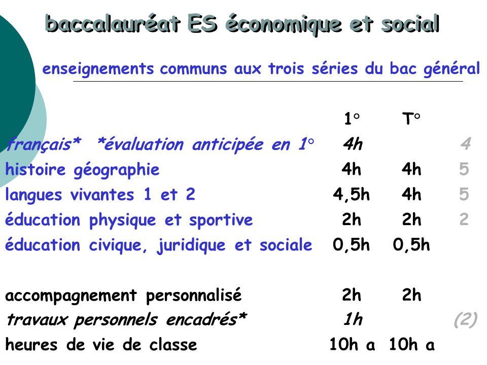 baccalauréat ES économique et social enseignements communs aux trois séries du bac général 1°T° français* *évaluation anticipée en 1°4h4 histoire géog