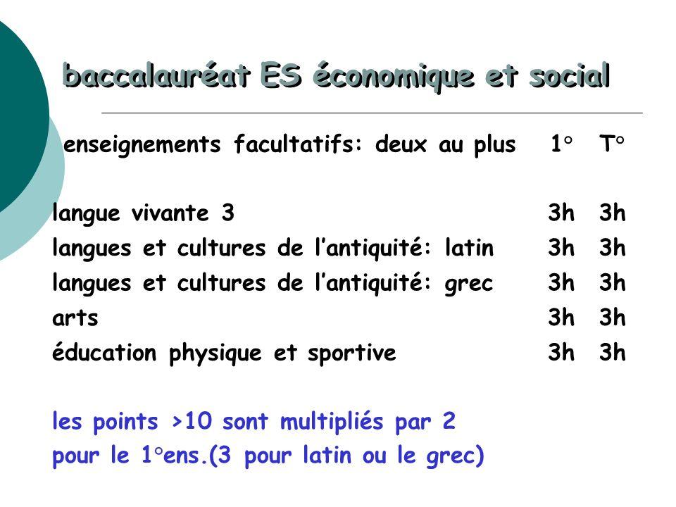 enseignements facultatifs: deux au plus1°T° langue vivante 33h langues et cultures de lantiquité: latin3h langues et cultures de lantiquité: grec3h ar