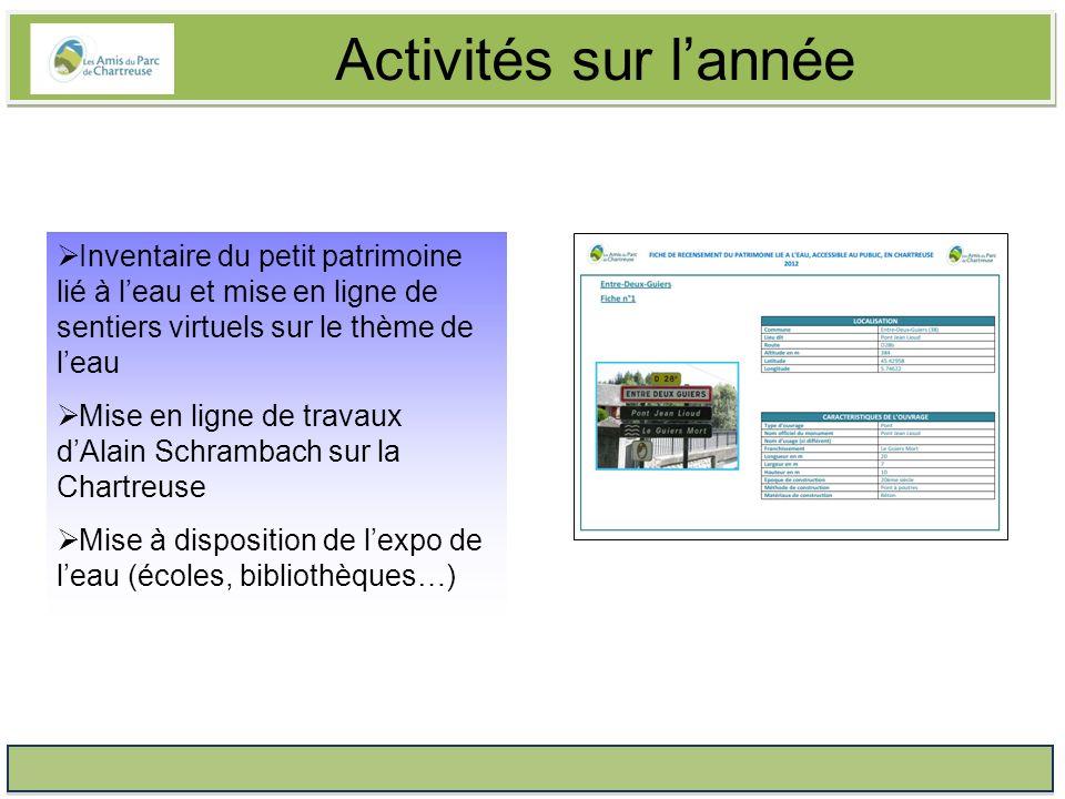 Activités sur lannée Repérage des décharges sauvages pour le collectif Chartreuse Propre Coordination dune animation scolaire en partenariat avec la FRAPNA Isère Préparation des projets 2014 avec notamment un axe « Moyen-âge en Chartreuse ».