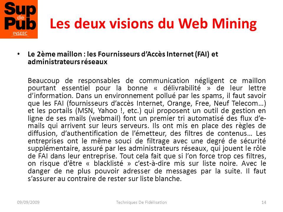 Les deux visions du Web Mining Le 2ème maillon : les Fournisseurs dAccès Internet (FAI) et administrateurs réseaux Beaucoup de responsables de communication négligent ce maillon pourtant essentiel pour la bonne « délivrabilité » de leur lettre dinformation.