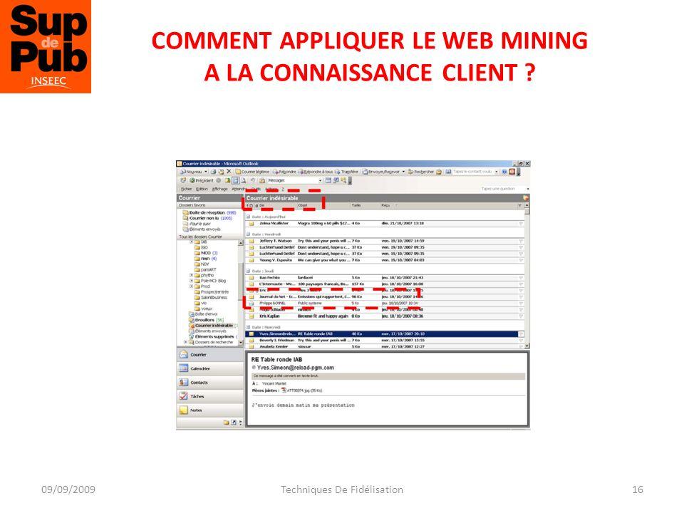 COMMENT APPLIQUER LE WEB MINING A LA CONNAISSANCE CLIENT 16Techniques De Fidélisation09/09/2009