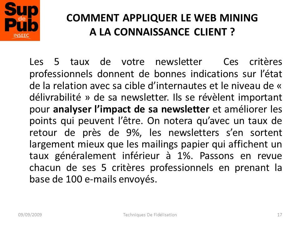 COMMENT APPLIQUER LE WEB MINING A LA CONNAISSANCE CLIENT .