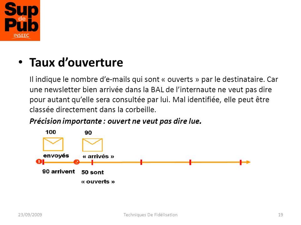 Taux douverture Il indique le nombre de-mails qui sont « ouverts » par le destinataire.