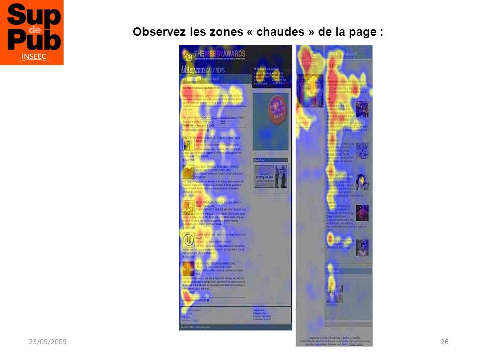 Observez les zones « chaudes » de la page : 23/09/2009Techniques De Fidélisation26