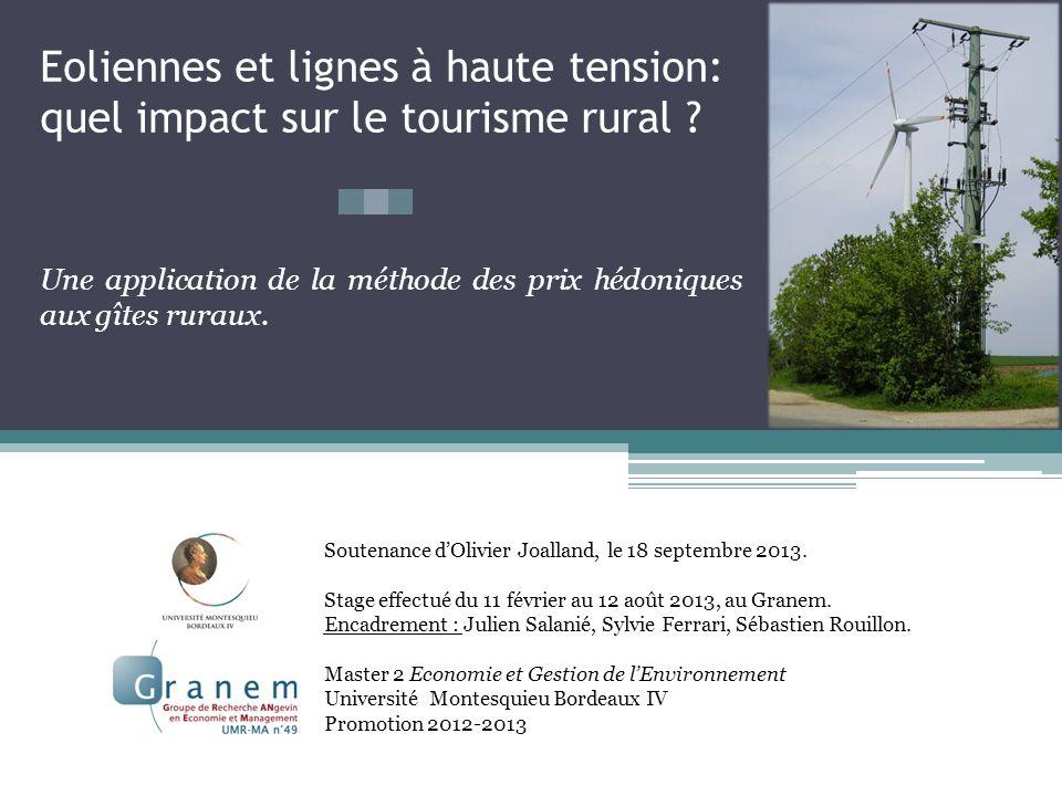 Eoliennes et lignes à haute tension: quel impact sur le tourisme rural ? Soutenance dOlivier Joalland, le 18 septembre 2013. Stage effectué du 11 févr