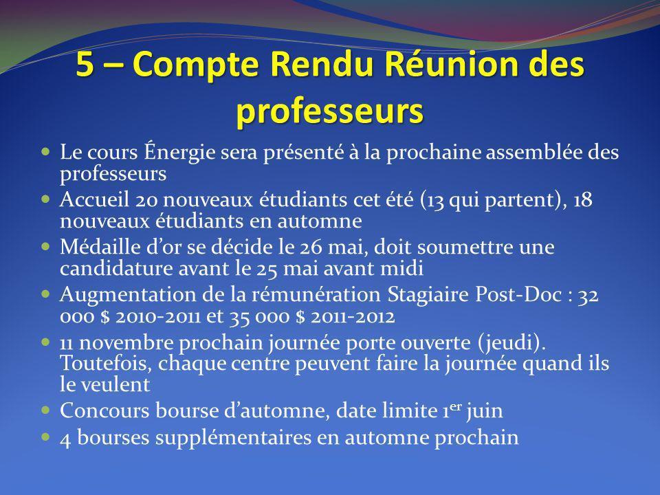 5 – Compte Rendu Réunion des professeurs Le cours Énergie sera présenté à la prochaine assemblée des professeurs Accueil 20 nouveaux étudiants cet été