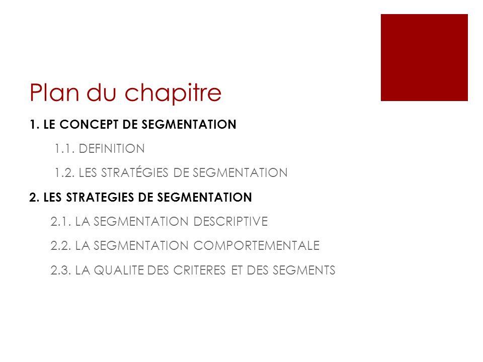 Plan du chapitre 1. LE CONCEPT DE SEGMENTATION 1.1. DEFINITION 1.2. LES STRATÉGIES DE SEGMENTATION 2. LES STRATEGIES DE SEGMENTATION 2.1. LA SEGMENTAT