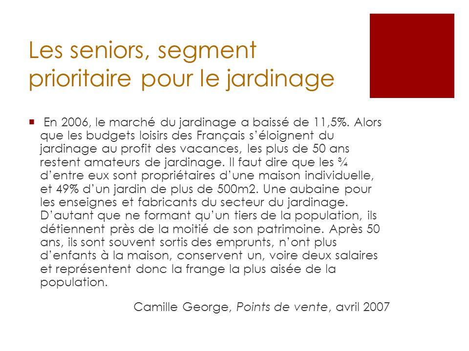 Les seniors, segment prioritaire pour le jardinage En 2006, le marché du jardinage a baissé de 11,5%. Alors que les budgets loisirs des Français séloi