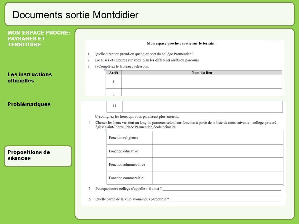 Documents sortie Montdidier MON ESPACE PROCHE: PAYSAGES ET TERRITOIRE Les instructions officielles Problématiques Propositions de séances