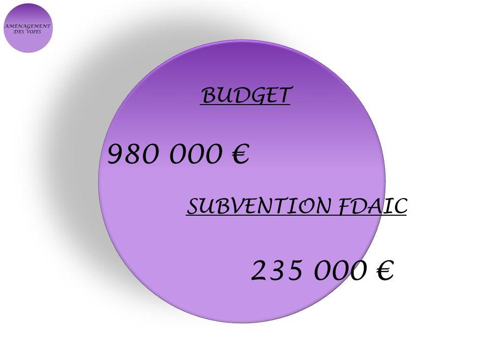 BUDGET 980 000 SUBVENTION FDAIC 235 000