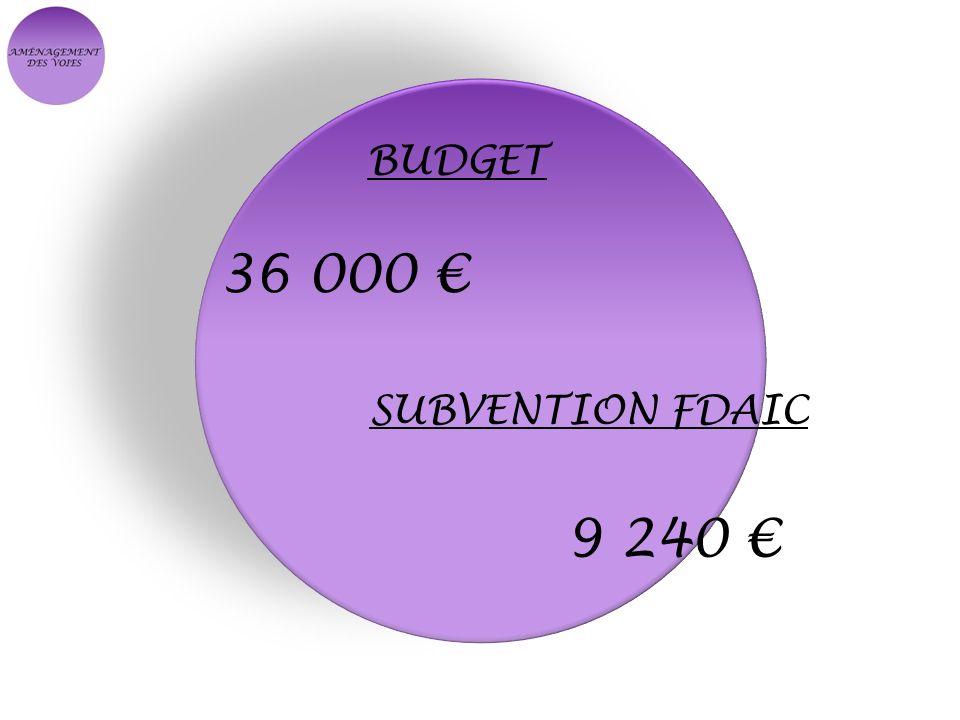 BUDGET 36 000 SUBVENTION FDAIC 9 240