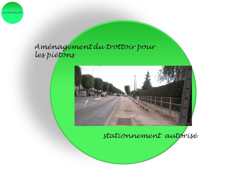 Aménagement du trottoir pour les piétons stationnement autorisé