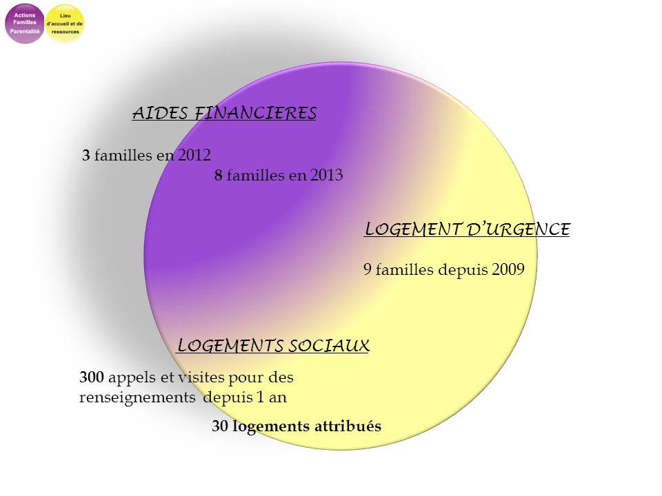AIDES FINANCIERES 3 familles en 2012 8 familles en 2013 LOGEMENT DURGENCE 9 familles depuis 2009 LOGEMENTS SOCIAUX 300 appels et visites pour des rens