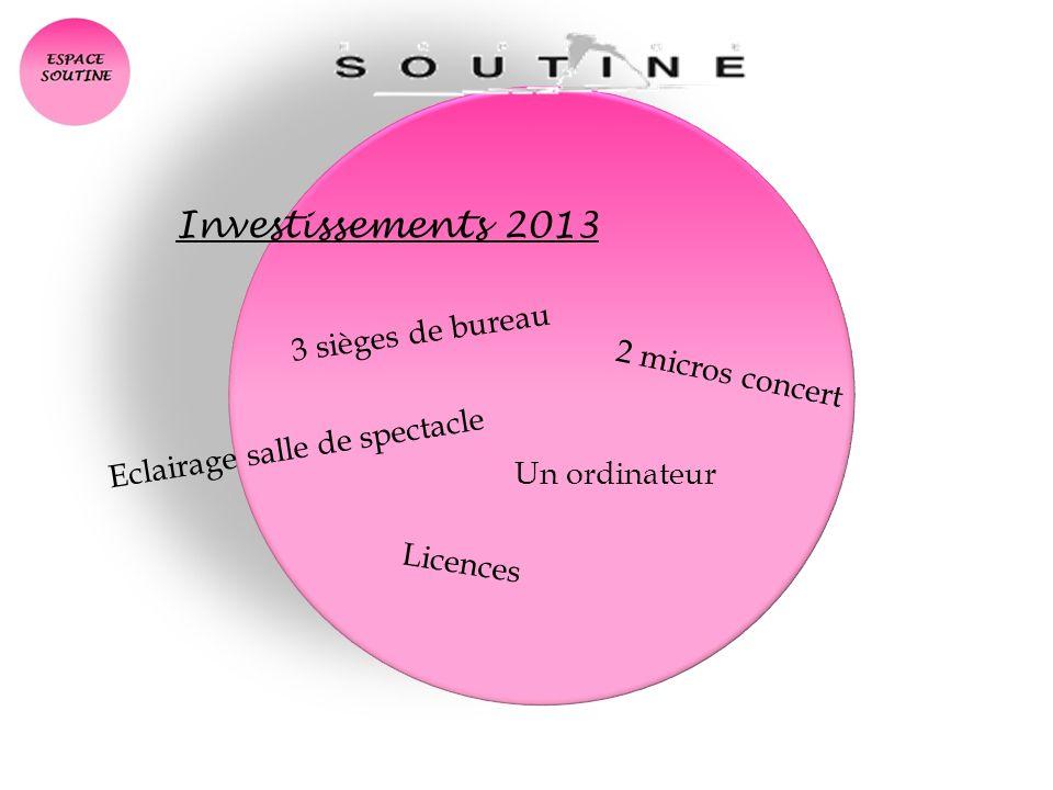 Investissements 2013 2 micros concert 3 sièges de bureau Eclairage salle de spectacle Un ordinateur Licences