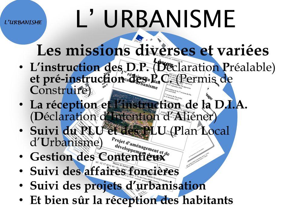 LURBANISME Les missions diverses et variées Linstruction des D.P. ( D éclaration P réalable) et pré-instruction des P.C. (Permis de C onstruire) La ré
