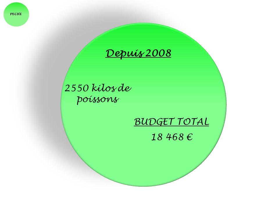 Depuis 2008 BUDGET TOTAL 18 468 2550 kilos de poissons