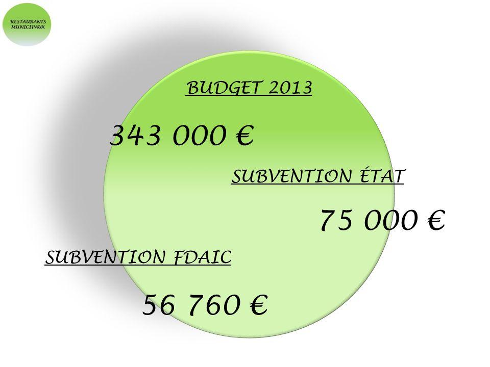 BUDGET 2013 343 000 SUBVENTION ÉTAT 75 000 SUBVENTION FDAIC 56 760