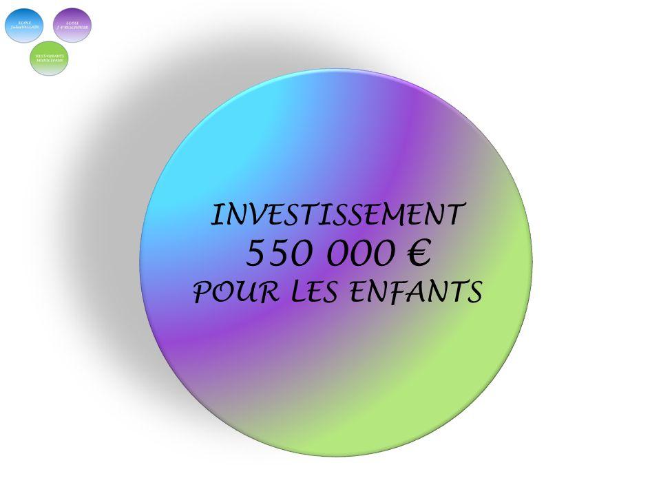 INVESTISSEMENT 550 000 POUR LES ENFANTS