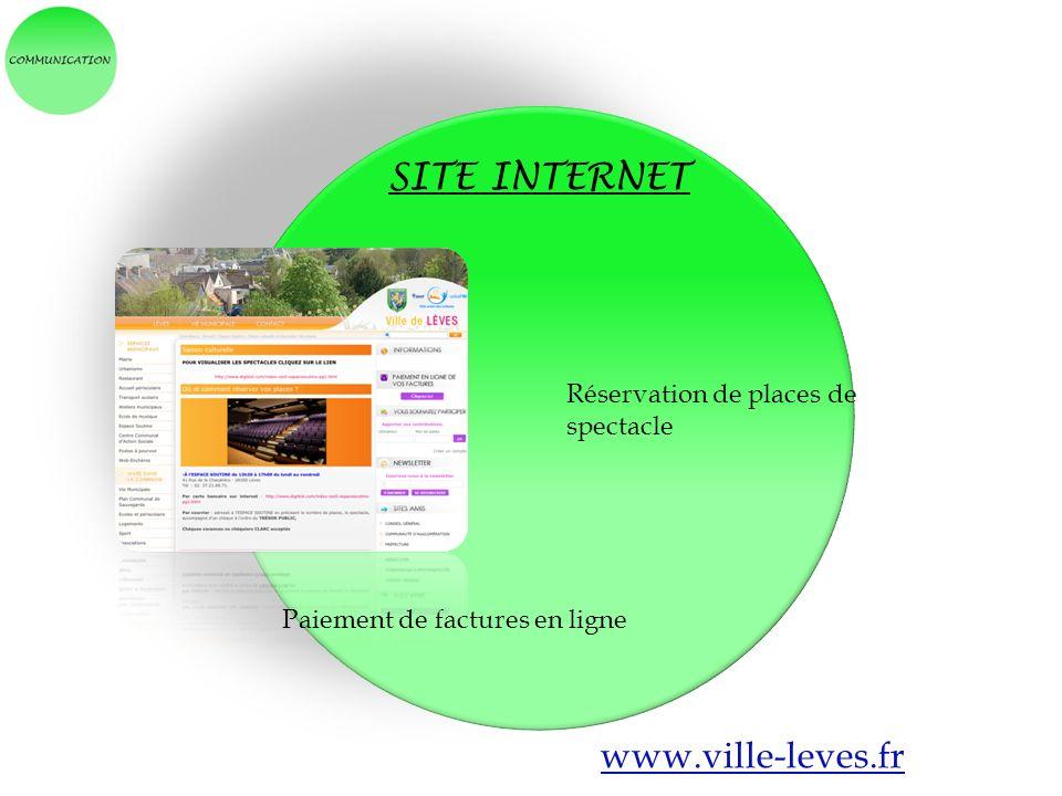SITE INTERNET www.ville-leves.fr Réservation de places de spectacle Paiement de factures en ligne